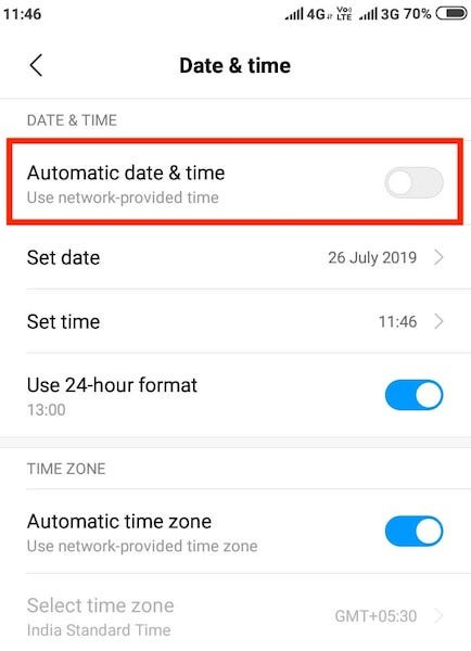 Fix Date and Time